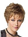 8inch kvinnor kort lockigt fluffigt syntetiska peruker sida bang blondin med gratis hårnät
