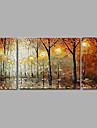 Peint a la main Abstrait / Paysage / Nature mortePastoral / Style europeen Trois Panneaux Toile Peinture a l\'huile Hang-peint For