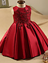 A-line Knee-length Flower Girl Dress - Stretch Satin Sleeveless Jewel with