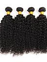 4 st / lot brasilianska lockiga jungfru hårväv naturligt svart 100% Remy människohår förlängningar för svarta kvinnor 400g