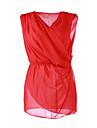 Blusa Da donna Casual Semplice Estate,Monocolore Rosa / Rosso Senza maniche Sottile