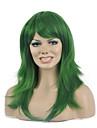 longue perruque synthetique de couleur verte populaire naturel pour femme