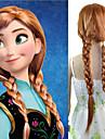 24 pouces femmes longue ligne droite synthetique perruque de cheveux  cosplay tresse Anna brun mix blanc