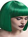 Capless grön färg mitt längd högkvalitativa naturliga raka syntetisk peruk
