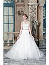 Una linea de vestido de novia hermosa espalda barrido / cepillo tren correas satinado con apliques beading