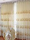 Deux Panneaux Le traitement de fenetre Europeen , Courbe Salle de sejour Polyester Materiel Rideaux opaques Decoration d\'interieur For