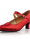 Non Customizable Women\'s Dance Shoes Ballroom/Modern Leatherette Chunky Heel Silver