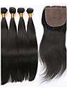 slove hår 5pcs / lot peruanska rakt hår 4bundles med silke stängning obearbetat jungfru hår rakt människohår