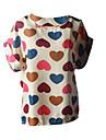 ZAY Women\'s Summer Fresh Multicolor Heart Print  Sleeveless T-shirt
