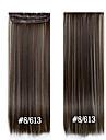 a long clip cheveux raides 24inch 60cm dans les extensions de cheveux # 8/613 postiches synthetiques pour les belles femmes