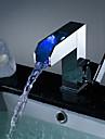 Contemporain Montage LED / Cascade with  Valve en ceramique Mitigeur un trou for  Chrome , Robinet lavabo