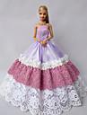 Fete / Soiree Robes Pour Poupee Barbie Pourpre clair Lace / Mosaique Robes Pour Fille de Doll Toy