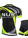 NUCKILY® Maillot et Cuissard de Cyclisme Homme Manches courtes VeloRespirable Resistant aux ultraviolets Bandes Reflechissantes Poche