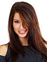perruques synthetiques de ton brun 20 pouces sans bonnet femmes a long sombres moyen-bang avec connexion filet a cheveux