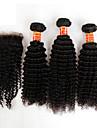 3 buntar brasilianska kinky lockigt jungfru hår med stängning obearbetat människohår väva och fria nedläggningar / mellersta delen spets