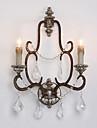 cristal de campagne 2 tetes retro amercian avec lampe de mur Douille de bois pour lampe de mur / couloir maison decorer foyer