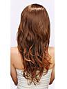 Capless synthetique de haute qualite brun chocolat ondules perruques de cheveux