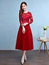 Teacă / coloană bijuterie gât ceai lungime tul rochie de onoare cu arc (e)