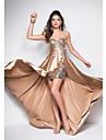 Formeller Abend Kleid Eng anliegend Herzausschnitt Asymmetrisch Satin mit Pailletten