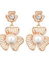 La modă European Perle Placat Auriu Aliaj Round Shape Flower Shape Auriu Bijuterii Pentru Nuntă Petrecere Zilnic Casual 1 pereche