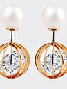 Cristal La modă Prăjit European Perle Cristal Zirconiu Zirconiu Cubic Ștras Placat Auriu Round Shape Auriu Bijuterii PentruNuntă