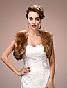 Women\'s Wrap Shrugs Sleeveless Faux Fur Brown Wedding / Party/Evening Wide collar 45cm Draped Open Front