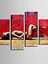 Modern Andra Väggklocka,Rektangulär Kanvas 30x 60cm(12inchx24inch)x2pcs+03 x 90cm(12inchx35inch)x2pcs Inomhus Klocka