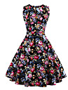 Femei Petrecere/Cocktail / Plus Size Vintage Swing Rochie-Floral Fără manșon Rotund Lungime Genunchi Negru Bumbac Vară