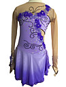 Robe de Patinage Femme Manches longues Patinage Robes Haute elasticite Robe de patinage artistique Elasthanne Violet Tenue de Patinage