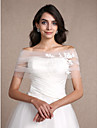 Women\'s Wrap Shrugs Sleeveless Tulle Ivory Wedding Party/Evening Off-the-shoulder 30cm Appliques Clasp