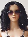 100% indien couleur noire vierge de cheveux 10-26 pouces naturelle humaine naturelle lache vague de corps avant de lacet perruque avec des