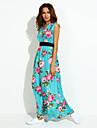 Women\'s V Neck Dress , Cotton Blends Maxi Sleeveless