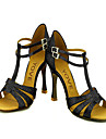 Chaussures de danse(Noir Or) -Personnalisables-Talon Personnalise-Similicuir Paillette Brillante-Latine Salon