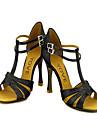 Customizable Women\'s Dance Shoes Latin/Ballroom Leatherette/Sparkling Glitter Customized Heel Black/Gold
