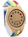 Bărbați pentru Doamne Unisex Ceas Sport Ceas La Modă Ceas Lemn Quartz Quartz Japonez / Piele Bandă Vintage Curcubeu Casual Multicolor