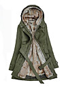 Women\'s Regular Parka Coat Plus Size Patchwork-Cotton / Others Long Sleeve Hooded Beige / Black / Green