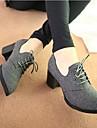 Femme-Decontracte--Gros Talon Block Heel-Confort-Baskets-Cuir