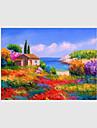 Pictat manual Peisaj Floral/Botanic Peisaje Abstracte  Picturi de ulei,Modern Pastoral Stil European Un Panou CanavaHang-pictate pictură