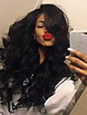 cheveux elegant corps de partie centrale d\'onde haute temperature jet perruque couleur noire femmes noires quotidienne naturelle portant