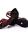 Chaussures de danse(Rouge / Autre) -Personnalisables-Talon Bottier-Satin-Latine / Baskets de Danse