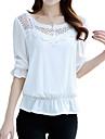 Femei Rotund Bluză Casul/Zilnic Plus Size / Șic Stradă,Mată ½ Lungime Manșon Vară-Roz / Alb Subțire Poliester