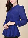 Femei Rotund / Stand Bluză Elegant Simplu(ă),Mată Manșon Lung Vară-Albastru / Roșu / Negru Mediu