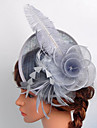 Women\'s Black Birdcage Veils Organza Headpiece-Wedding Tulle Net Fascinators with Rose Lace Feather Hat