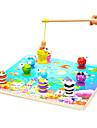 trä barn 3d magnetisk stereo fiske leksak set barn pussel leksaker