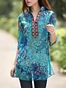Femei Stand Bluză Casul/Zilnic Boho,Floral ¾ Manșon Vară-Albastru Subțire Poliester