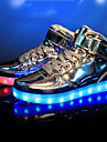 Femme-Decontracte Sport Soiree & Evenement-Argent Or-Talon Plat-Confort Light Up Chaussures-Baskets-Similicuir