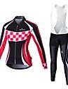 MALCIKLO® Cykeltröja med Bib-tights Dam Lång ärm CykelAndningsfunktion / Snabb tork / Dragkedja fram / Bärbar / Hög andningsförmåga