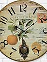 Moderne/Contemporain Famille Horloge murale,Rond Bois 34*34*3cm Interieur Horloge