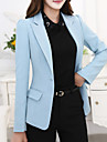 Women\'s Plus Size Fall Blazer,Solid Notch Lapel Long Sleeve Blue / Gray Polyester Medium