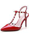 Femme Chaussures a Talons Cuir Verni Ete Decontracte Rivet Talon Aiguille Blanc Noir Gris Rouge Rose